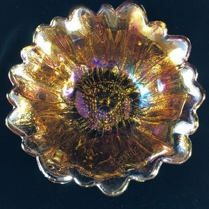 Vintage Indiana Carnival Glass Iridescent Amber